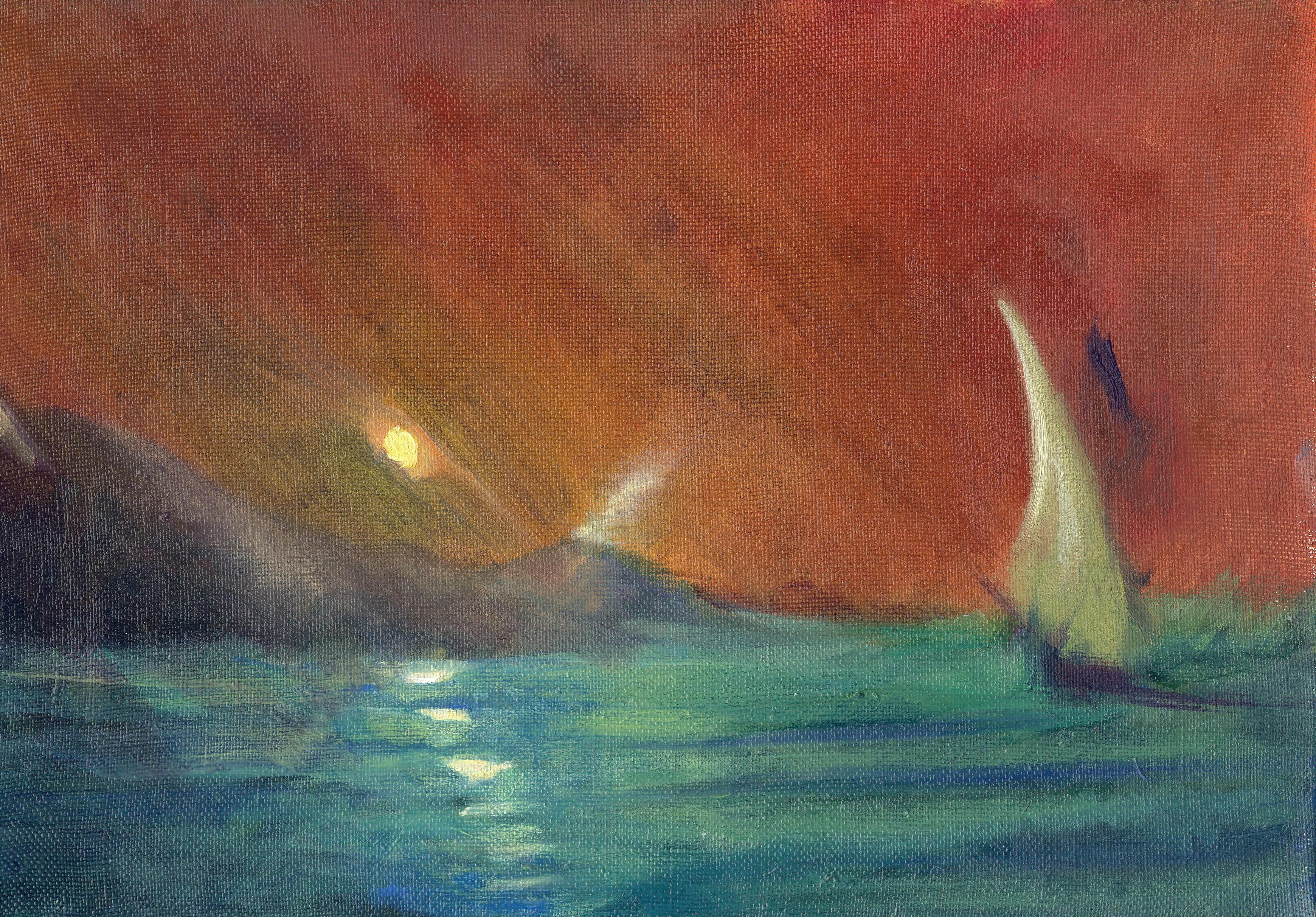Sea Sunset 21x30 cm, oil on canvas, 2013